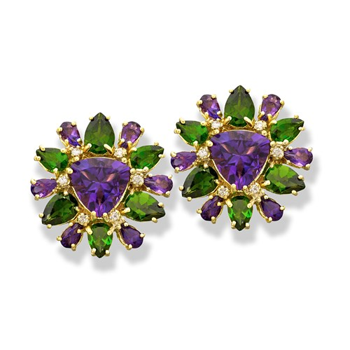 18K Yellow Gold Amethyst Flower Burst Earrings, Clips