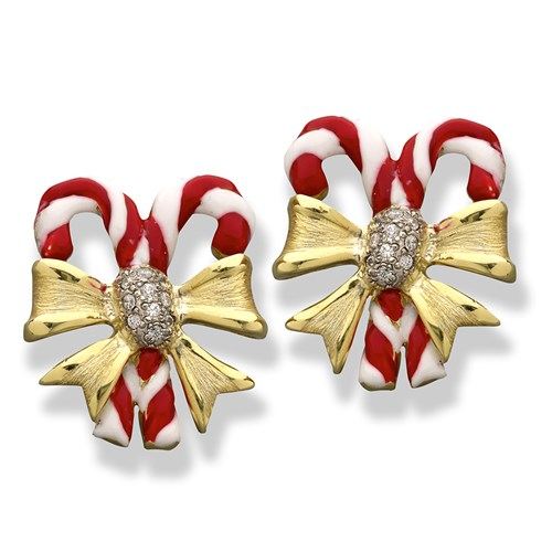 AV565 18K YG Enamel Candy Cane Earrings Clips