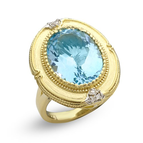 18K Yellow Gold Sky Blue Topaz Ring
