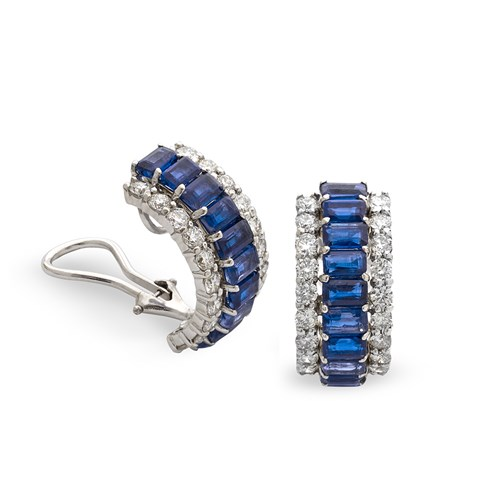 18K White Gold Royal Blue Kyanite Earrings, Clips