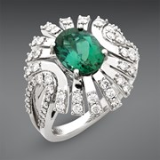 18k White Gold Tourmaline & Diamond Ring