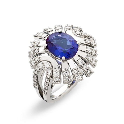 18k White Gold Tanzanite & Diamond Ring