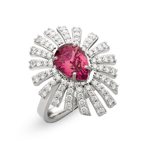 18k White Gold Diva Rubelite & Diamond Ring