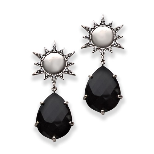 Sterling Silver Aztec Starburst Onyx Drop & White Sapphire Earrings