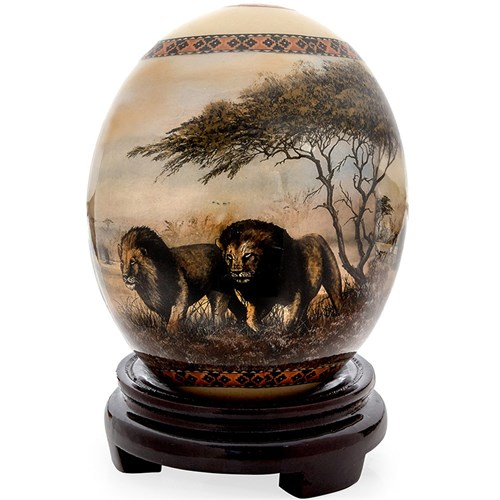 Decoupage Ostrich Egg with Lions & Buffalos