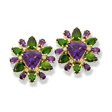 18k Yellow Gold Amethyst Flower Burst Earrings