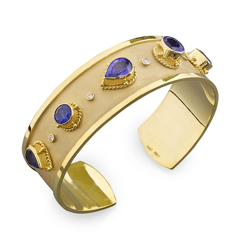 18k Rope Border Tanzanite & Diamond Cuff Bracelet