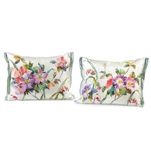 Handpainted Wild Roses Silk Pillows