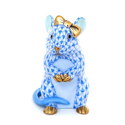 Herend Mouse with Bow, Blue