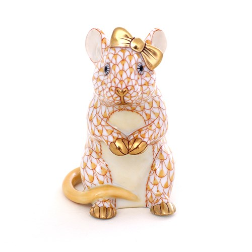 Herend Mouse with Bow, Butterscotch