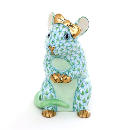 Herend Mouse with Bow, Key Lime
