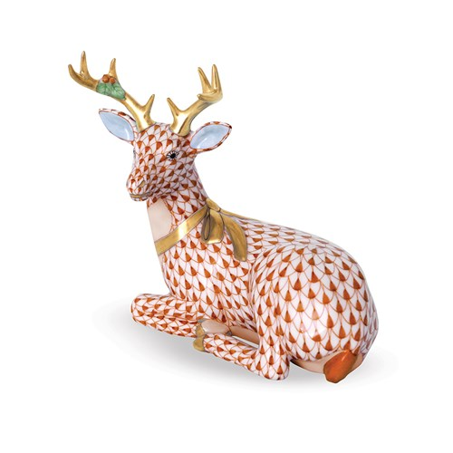 Herend Lying Christmas Deer, Rust