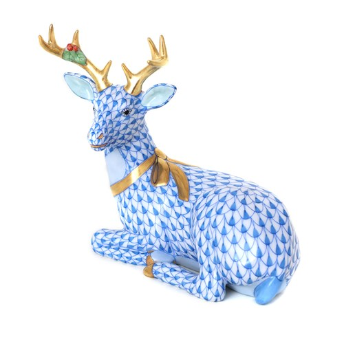 Herend Lying Christmas Deer, Blue