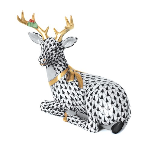 Herend Lying Christmas Deer, Black