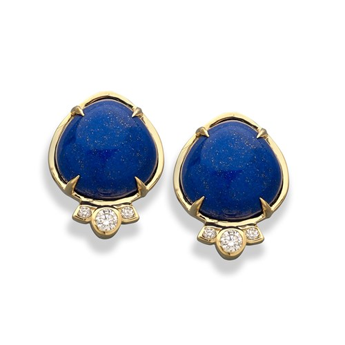 18K Lapis Lazuli & Diamond Earrings