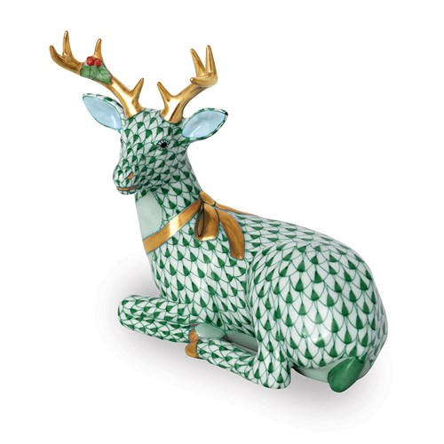 Herend Lying Christmas Deer, Forest Green