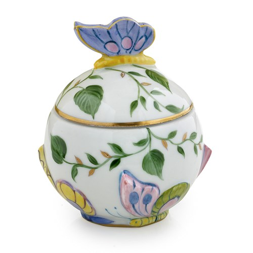 Butterfly Limoges Porcelain Covered Sugar Bowl