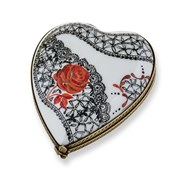 Black & Red Lace Heart Limoges Box