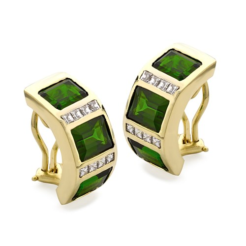 18k Gold Princess Diamond Chrome Diopside Earrings