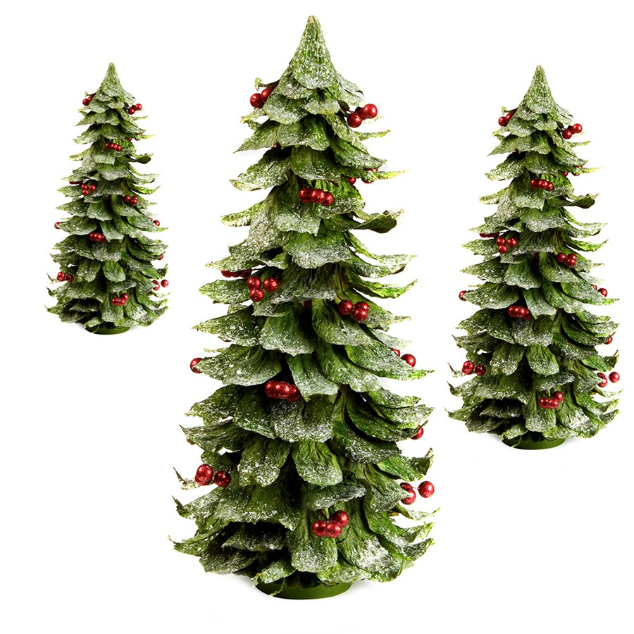 Christmas Leaves.Leaf Berry Cone Trees