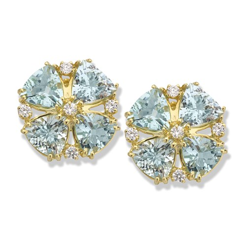 18k Yellow Gold Aquamarine Earrings with Diamonds