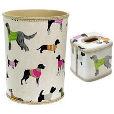 Dogs on Parade Wastebasket & Tissue Box Cover