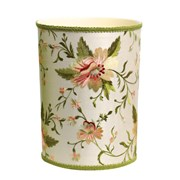 Blooming Embroidery on Silk Wastebasket & Tissue Box Cover