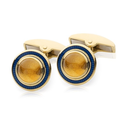 18k Gold Citrine Center Cufflinks