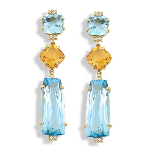 18k Gold Blue Topaz & Citrine Drop Earrings