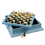 Marine Blue Leather Chess and Backgammon Set