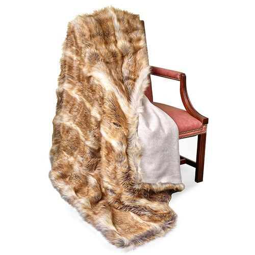 Faux Fur Red Fox Australian Geelong Wool Throw