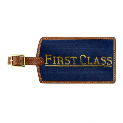 First Class Needlepoint Luggage Tag