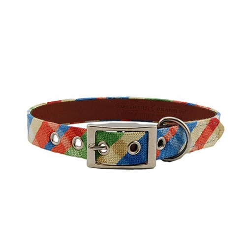 Summer Madras Needlepoint Dog Collar