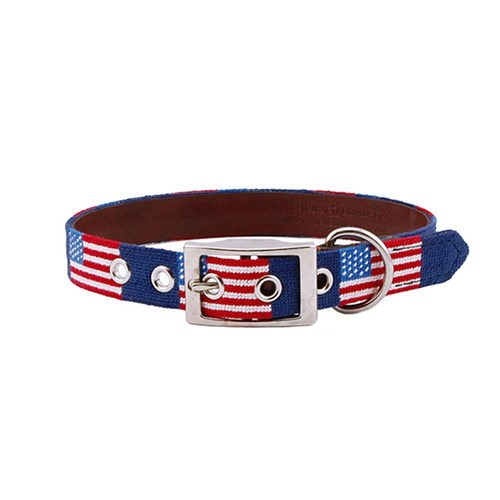 American Flag Needlepoint Dog Collar, Medium/Large