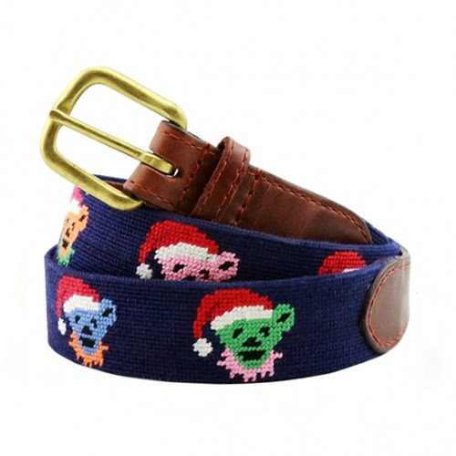 Dancing Santa Bears Needlepoint Belt, Size 28
