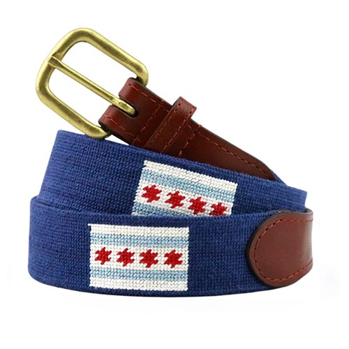 Chicago Flag Needlepoint Belt, Size 32