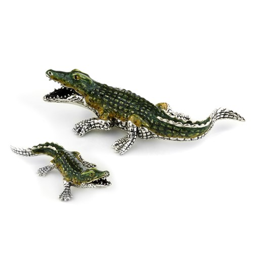 Sterling Silver & Enamel Crocodile Pair