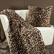 Faur Fux Leopard Wool Throw and Pillows