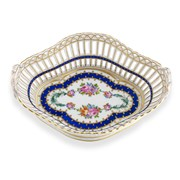Dresden Pierced Porcelain Basket with Handles