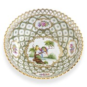 Dresden Porcelain Large Footed Pierced Bowl
