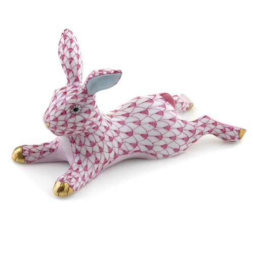 Herend Lounging Bunny Raspberry