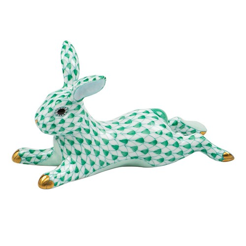 Herend Lounging Bunny Green