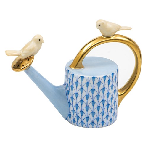 Herend Watering Can with Birds, Blue