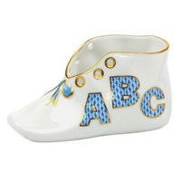 Herend Baby Shoe, ABC Blue