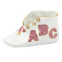 Herend Baby Shoe, ABC Raspberry