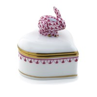 Herend Heart Box with Bunny Finial, Raspberry