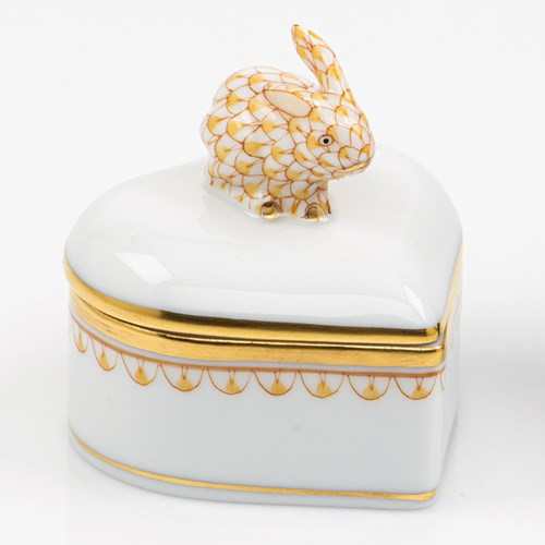 Herend Heart Box with Bunny Finial, Butterscotch