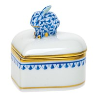 Herend Heart Box with Bunny Finial, Sapphire