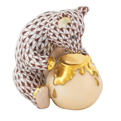 Herend Bear with Honey Pot, Chocolate
