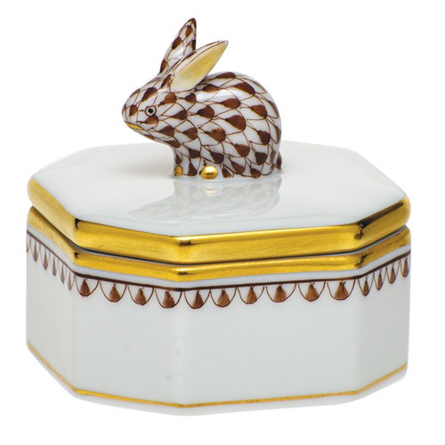 Herend Petite Octagonal Box with Bunny Finial, Chocolate
